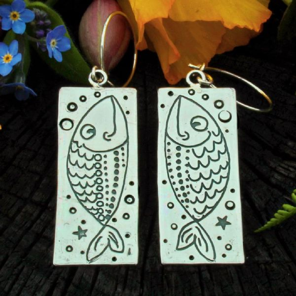 Fish earrings, goldfish, polished silver
